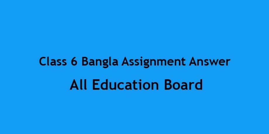 Class 6 Bangla Assignment 2021 New