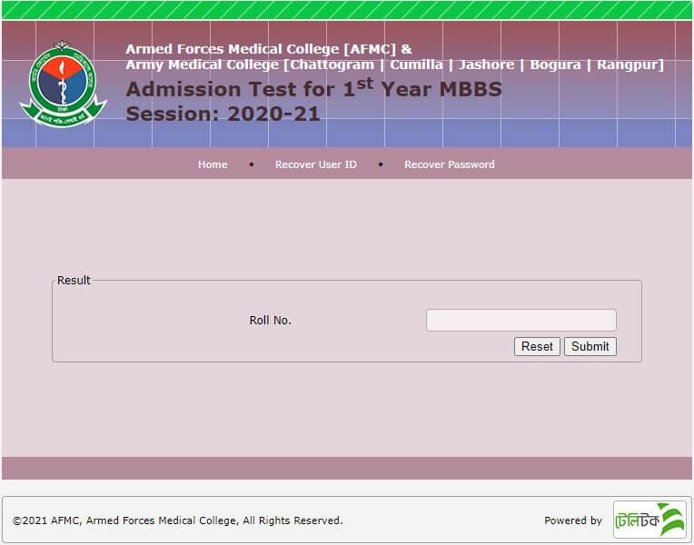 AFMC Result 2021 Online