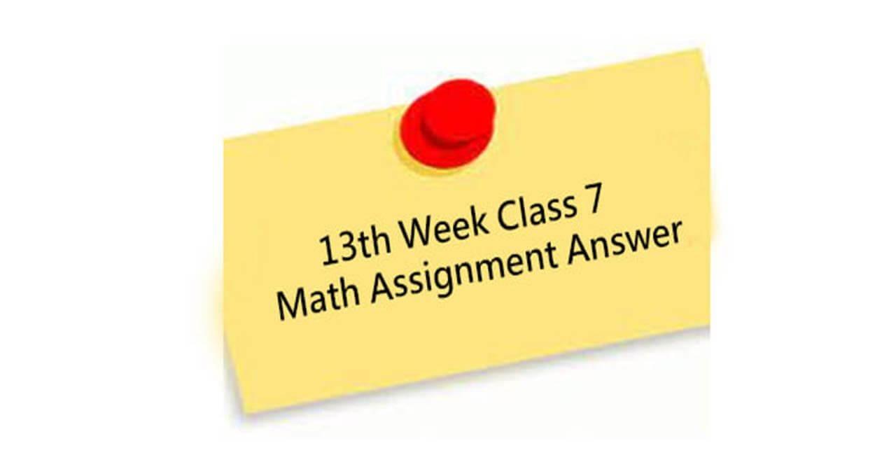 Class 7 13th Week Math Assignment Answer BD